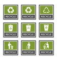 recycle signs and recycling icons set trash vector image vector image