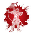 samurai warrior with bow weapon ready to fight vector image vector image