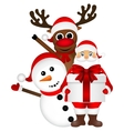 Santa Claus with snowman and reindeer cartoon a vector image vector image