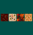 set autumn seamless patterns design for vector image vector image