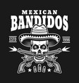 skull in sombrero with two crossed pistols emblem vector image vector image