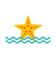 starfish sea life with waves vector image vector image