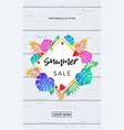 summer sale poster fruits and palm leaf online vector image