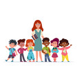 teacher with children happy multiethnic girls and vector image