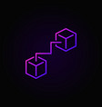two connected cubes purple icon vector image vector image