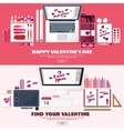 Valentines Day Workplace with table Design vector image vector image