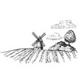 windmill on agricultural field hand drawn sketch vector image vector image