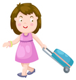 woman with a luggage bag vector image