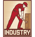 worker holding wrench - industry poster vector image vector image