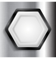 Abstract metallic hexagon label vector image vector image
