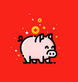 asian wealth coins and 2019 chinese new year pig vector image