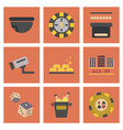 assembly flat icons poker game vector image vector image