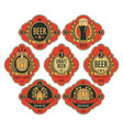 beer labels in figured frames on a red background vector image vector image