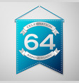 blue pennant with inscription sixty four years vector image vector image