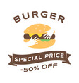 burger sale social media banner template fast vector image vector image