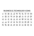 business icons flat line icons with doodle style vector image