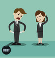 businessman and businesswoman standing and showing vector image
