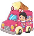 Cartoon little boy driving car and waving vector image vector image