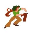 Cartoon woman in green top running after jacket vector image vector image