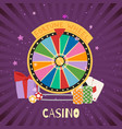 casino with fortune spinning wheel card and dibs vector image