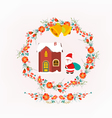 Christmas decorative wreath and santa claus vector image