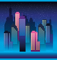 cityscape buildings with neons lights vector image vector image