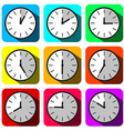 Clock Set Colorful Hour Flat Design Clock Face vector image vector image