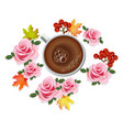 coffee cup realistic with rose flowers vector image vector image