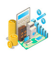consumer loan rates concept isometric vector image vector image
