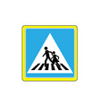 crosswalk sign black in white triangle vector image