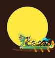 dragon boat racing flat colorful poster vector image
