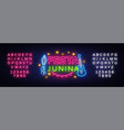 festa junina greeting card design template neon vector image vector image