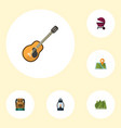 flat icons location music barbecue and other vector image vector image