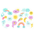 hand drawn weather phenomena cute sun clouds and vector image vector image