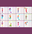 happy birthday postcards men and women with gifts vector image vector image