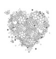 heart shape coloring outline for your design vector image vector image