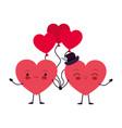 hearts love kawaii character vector image vector image