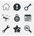 Home key icon Wrench service tool symbol vector image vector image