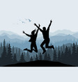 jumping people silhouettes on forest background vector image vector image