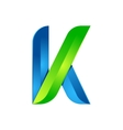 K letter leaves eco logo volume icon vector image vector image