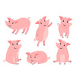 little piggy character cartoon funny pink pig boy vector image vector image