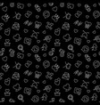 love outline dark seamless pattern for vector image vector image