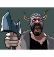 man with an ax Viking heart rending cries vector image vector image