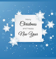 merry christmas greetings card on blue background vector image