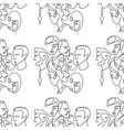 people different faces line seamless pattern vector image vector image