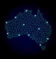 polygonal wire frame mesh map of australia with vector image