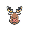reindeer head christmas icon vector image
