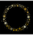 round frame golden snowflakes on a black vector image