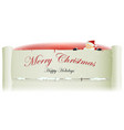 santa claus behind merry christmas parchment vector image vector image