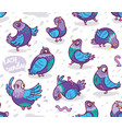 seamless pattern with cartoon pigeons design vector image vector image